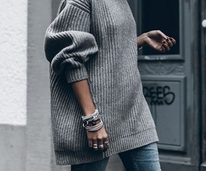 gray, jumper, and outfit image