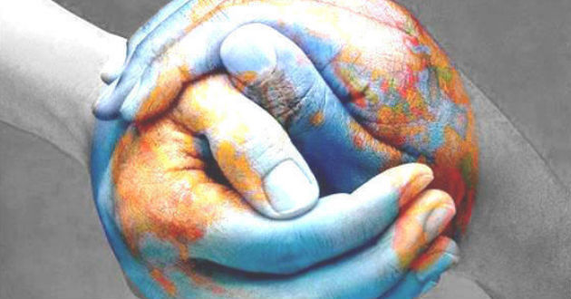 world, hands, and peace image