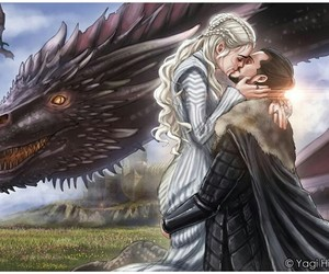 jon snow, daenerys targaryen, and game of thrones image