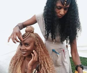 braids, curly hair, and hair dye image