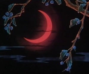 moon, red, and dark image