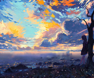 anime, clouds, and girl image