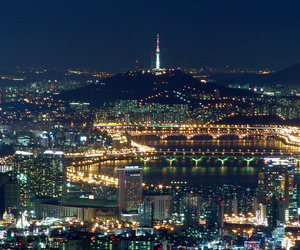 city, night, and korea image