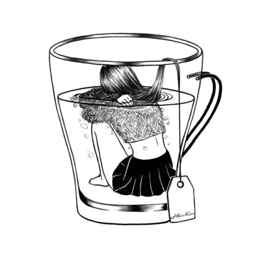 tea, art, and drawing image