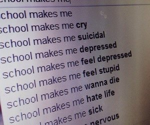 school, depressed, and cry image