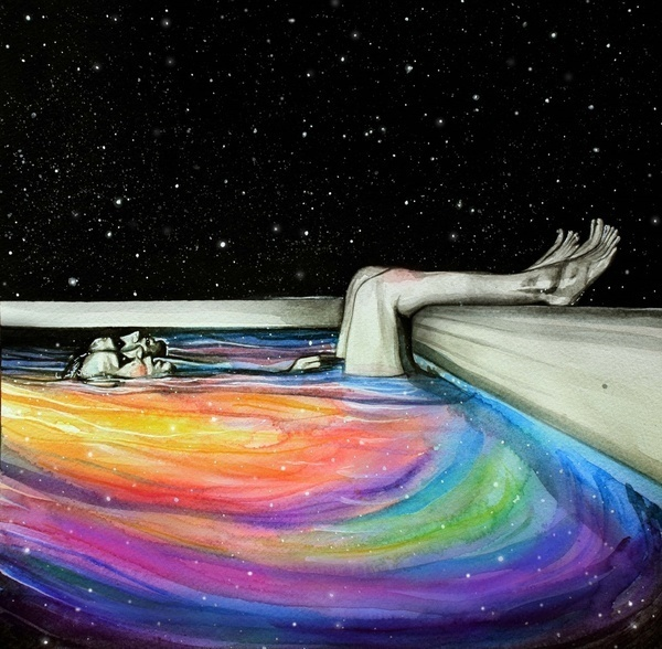 stars, art, and rainbow image