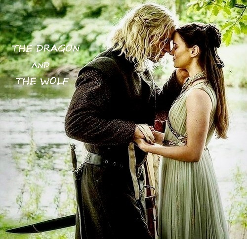 her, dragon, and wolf image