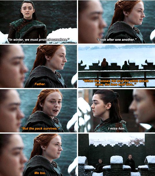 arya stark, sansa stark, and ned stark image
