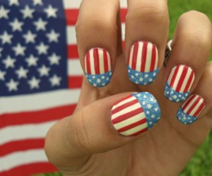 american flag, nails, and pretty image