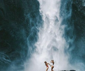 girls, waterfall, and photography image