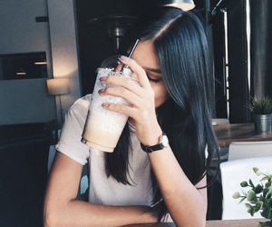 coffee, long hair, and outfit image