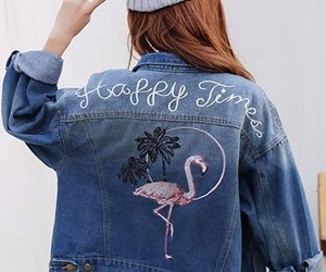 denim, embroidered, and jacket image