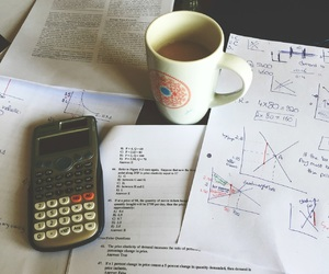 calculator, coffee, and college image