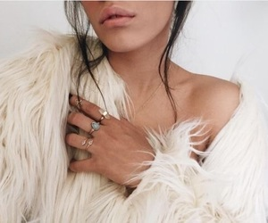 white, fashion, and fur image