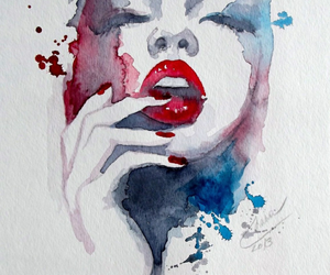 art, painting, and lips image