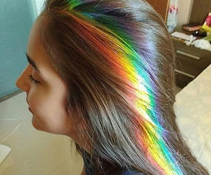 rainbow, hair, and girl image