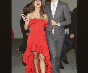 couple, fashion, and red dress image