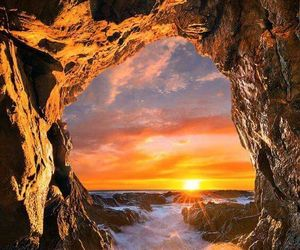 nature, cave, and sunset image