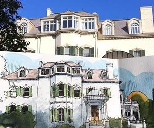 art, Houses, and sky image