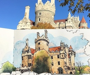 art, sky, and castle image