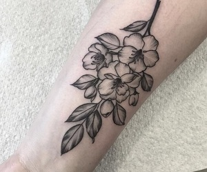 flower, tat, and tattoo image