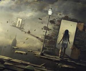 door, art, and girl image