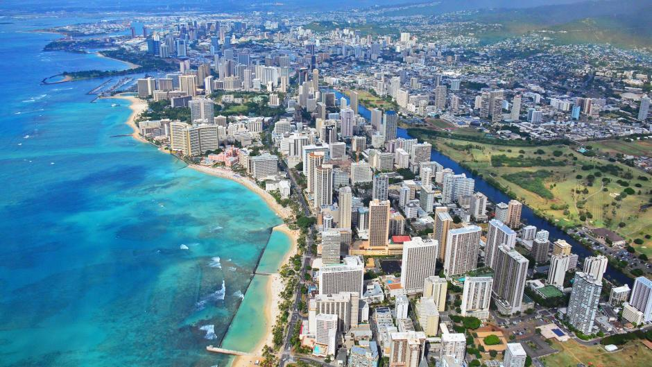 beach, city, and hawaii image