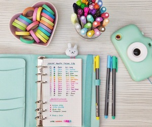 school, mint, and pen image