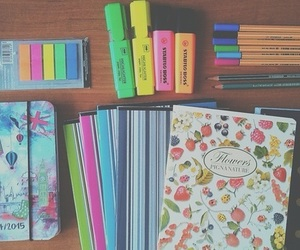 school, notebook, and school supplies image