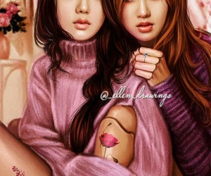 fanart, rose, and blackpink image