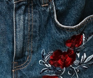 embroidery, flowers, and style image