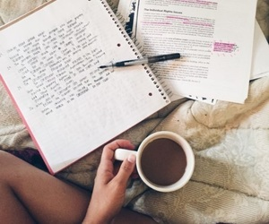 book, coffe, and notebook image