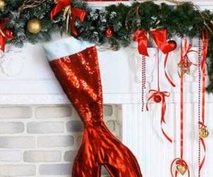 christmas, mermaid, and stocking image