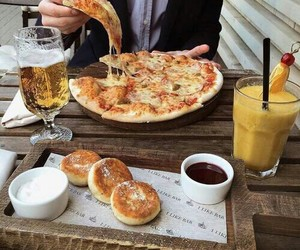 coffee, pizza, and food image