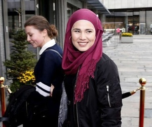 skam, hijab fashion, and red hijab image