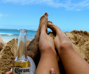beach, couple, and drink image
