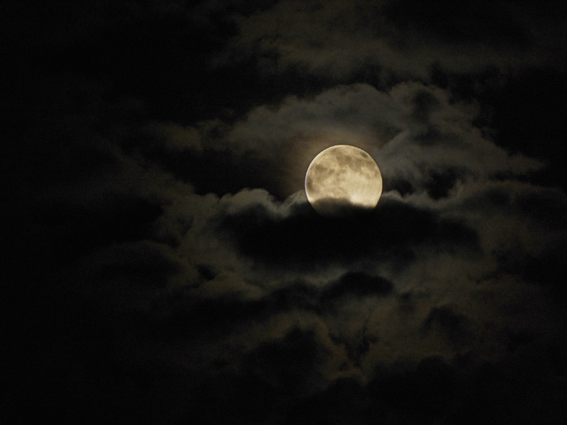 clouds, moon, and dark image