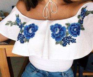 outfit, beautiful, and blue image
