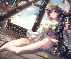 anime girl, flowers, and anime image