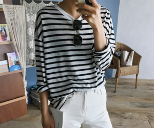 black and white fashion, casual, and clothes image