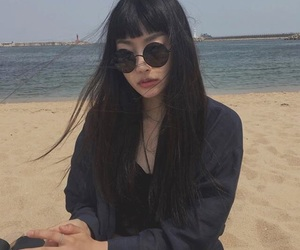 asian, glasses, and beach image