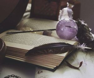 book, feather, and magic image
