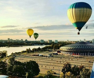 belarus, hot air balloon, and city image