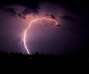 lightning, sky, and purple image