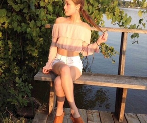 bench, girl, and off the shoulder image