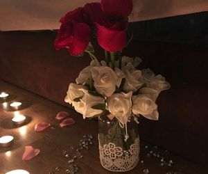 red, flowers, and candles image