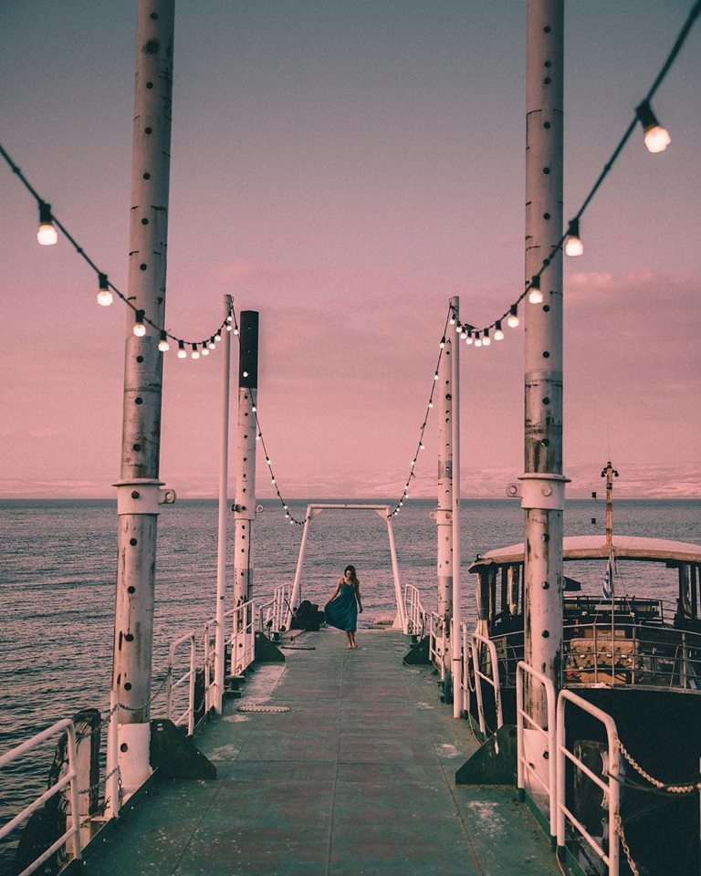 lights, ocean, and pink image