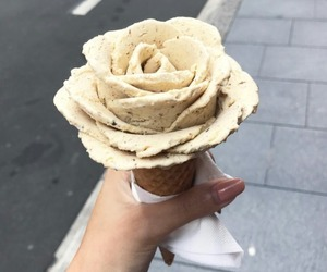 rose, food, and ice cream image