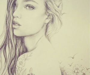 girl, drawing, and draw image