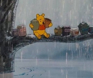 honey, winnie the pooh, and rain image